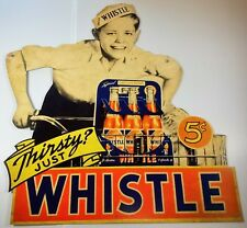 THIRSTY JUST WHISTLE SODA POP BICYCLE DELIVERY BOY HEAVY DUTY METAL ADV SIGN
