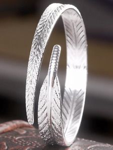 Ladies 925 silver feather memory boxed bracelet bangle jewellery present gift