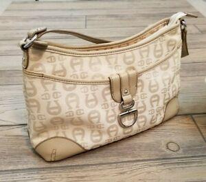 ETIENNE AIGNER Beige Gold Signature Shoulder Bag Purse Handbag Small Zipper