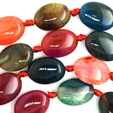 "18mm watermelon agate flat oval beads 16"" strand"