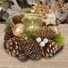 Rustic Christmas Centrepiece with Single Tea Light Candle Holder