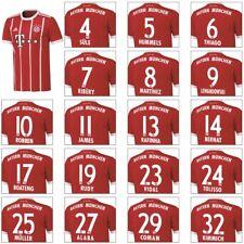 adidas FC Bayern München Home Heimtrikot mit Flock 2017/2018 rot/weiß