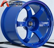 17X9/9.5 ROTA GRID WHEELS 4X114.3 RIMS 12MM FORK BLUE AGGRESSIVE FITS S13