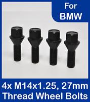 4 x Alloy Wheel Bolts in Black for BMW, M14 x 1.25, 27mm Thread