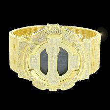 14K Gold Canary Iced Out Designer G Shock Metal Band Custom Digital Watch GD 100
