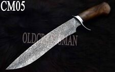 Custom Handmade Damascus Steel Hunting Bowie / Knife - Rose Wood Handle CM05