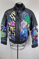 BELLA VIA Vintage Black Leather Silk Floral Animal Patch Mosaic Bomber Jacket XL