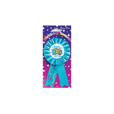 Happy Birthday Boy Badge Rosette Blue Deluxe Award Ribbon