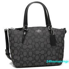 COACH Outline Black Signature MINI Kelsey Satchel Crossbody Tote Handbag F27580