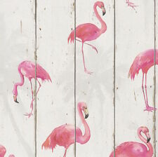 Off White Textured Flamingo Timber Panelling Wallpaper - 10M ROLL - NEW!