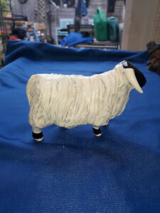 Highland Ram/Sheep Black Faced with Long White Fleece Ceramic Ornament Stunning