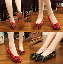 Womens Chinese Embroidered Flower Flat Shoes Mary Jane Floral Shoe Handmade Soft
