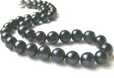 Huge 12mm AAA- Pure Black Genuine Freshwater Cultured Pearl Necklace
