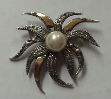 Antique Art Deco Sterling Silver & Gold Pearl Pin Brooch