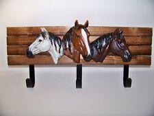 Horse Heads Wall Hanger Hooks Western Rustic Equestrian Gift Sculptur Wood