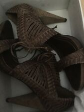 ALLSAINTS SPITALSFIELDS BROWN LEATHER SANDALS OPHELIA Size 40 UK7 NEW Unworn