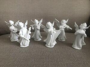 DRESDEN ANGELS(6) PORCELAIN MUSICIANS PLAYING INSTRUMENTS GERMANY BAND!