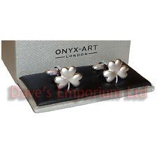 3 Leaf Clover Cufflinks - Onyx Art - Gift Boxed - Shamrock Irish Ireland Three
