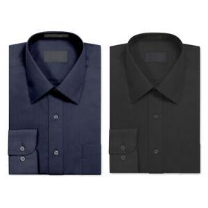 2 Pack Men's Berlioni Long Sleeve Button Up Regular Dress Shirt Black - Navy