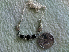 3 Black Onyx Stone Petite Necklace in Sterling Silver