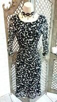 🌹M&S COLLECTION🌹 LEOPARD PRINT MESH STRETCH RUCHED WIGGLE DRESS UK 12 WEDDING