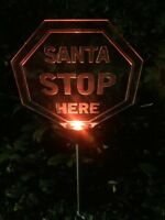 Christmas Solar Powered Santa Stop Here Sign Garden Stake  - Red #1P31