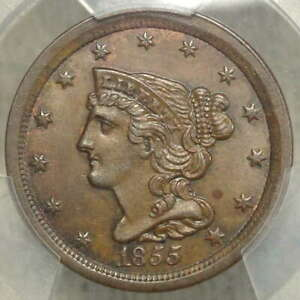 1855 Half Cent, Choice Uncirculated PCGS MS-63BN, Attractive Original Type Coin