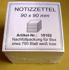 Zettelklotz 90 x 90 mm - 750 Blätter Blatt Stück - weiss - Nachfüllpack Neu OVP