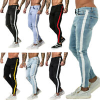 GINGTTO Men Skinny Denim Jeans Ripped Stretch Washed Slim Fit Pants Black / Blue