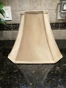 """(1) ALLEN + ROTH SILKEN TOAST FABRIC BELL LAMP SHADE 10 3/4"""" x 13"""" ~ 2 AVAILABLE"""