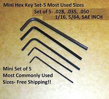 NEW- 5 Piece SAE inch Mini HEX L-Key Set - Precision Micro Short Arm Hex Key Set
