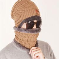 Unisex Women Men Knit Winter Wool Warm Ski Crochet Slouch Scarf Hat Cap Beanie