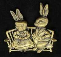 JJ Bronze Tone Bunny Rabbit Easter Pin Brooch