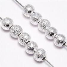 Lot 50 Perles Rondes en Métal 4mm Métal PLAQUE ARGENT
