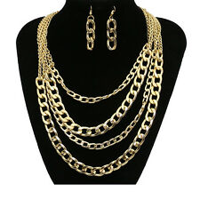 New Women Golden Plated Multi-Layer Chain Pendant Necklace Earrings Jewelry Set