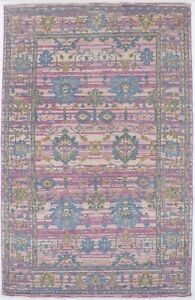 Muted Pink Vintage-inspired Chobi 5X8 Oriental Home Décor Area Rug Wool Carpet