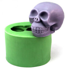 3D Skull Head Candle Mold Soap Mould Flexible Silicone Mold Icing Mold LZ0108