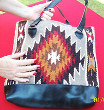 "1 Quantity-Southwest Style Wool/Faux Leather Tote 15"" x 16""(HIARTPURSE-F)"
