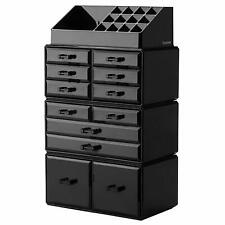Makeup Cosmetic Organizer Storage Drawers Display Boxes Case with 12 Drawers (Bl