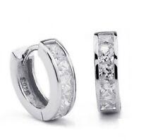 925 Silber Creolen Kreolen Klapp Ohrstecker Ohrringe Zirkonia Diamant Damen Neu