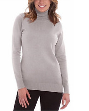 Joseph A. Women's Solid Long Sleeve Turtleneck Sweater,Light Heather Gray,Size L