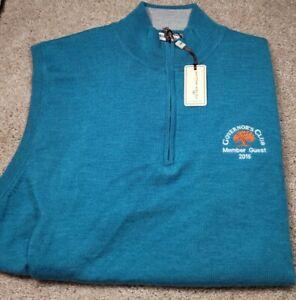 NWT! PETER MILLAR-Ocean Merino Wool, Mens Logo Pullover Sweater Vest-(L)