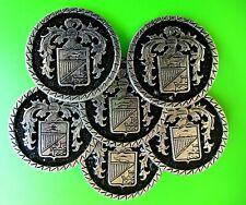"6 Vintage Silver Tone & Black CREST Shank Buttons Metal Shank 1 3/8"""