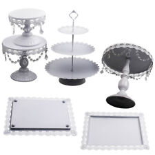 6PCS Wedding Cake Stand Crystal Decor Metal Cupcake Holder w/ Crystal Dishes Set