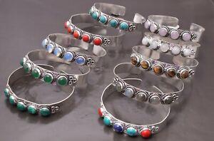 Rose Quartz Opalite  & More 925 Silver Plated Ethnic Beauty Cuff Bangle Bracelet
