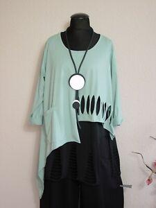 Moonshine Fashion° Lagenlook Überwurf Shirt Cut Out Tasche ~ Salbei Grün ~  2