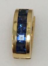 18k Yellow Gold Slide 8mm 5 Square Sapphire .67ct  1.15DWT