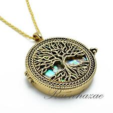 """Gold 5X Magnifying Glass Mother of Pearl Tree of Life Pendant 31"""" Necklace 04G"""