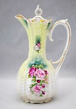 Unmarked RS Prussia Coffee or Chocolate Pot with Pink Roses