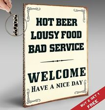 HOT BEER LOUSY FOOD WELCOME A4 POSTER Cardboard VINTAGE Pub Bar Wall Decor Sign